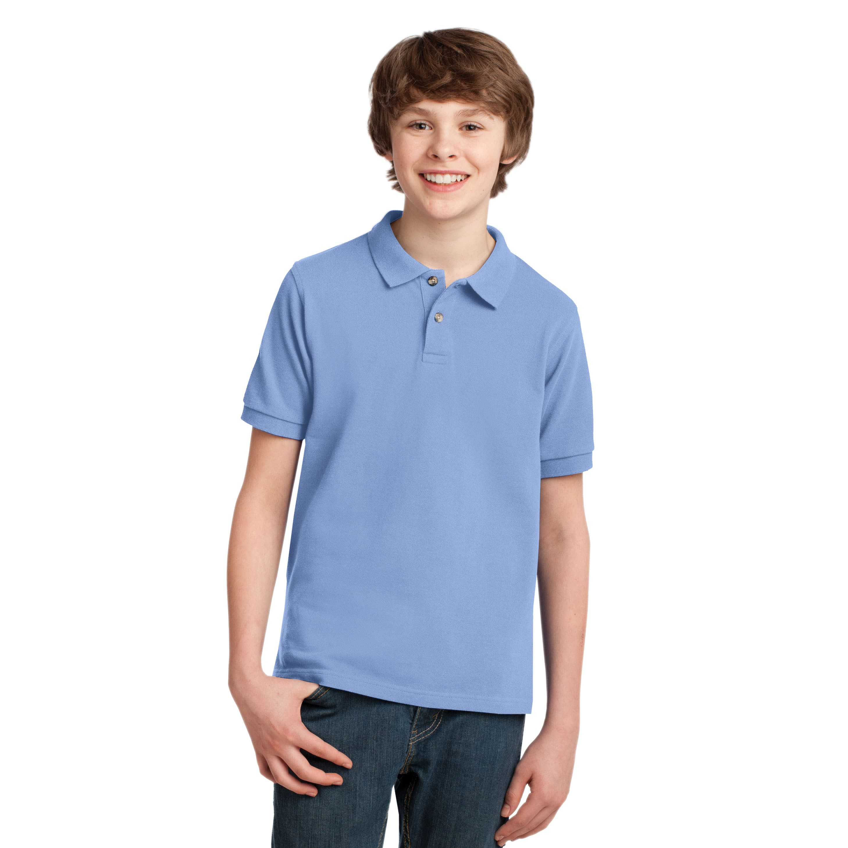 Youth knit pique polo shirt port authority custom for Cheap polo shirts embroidered