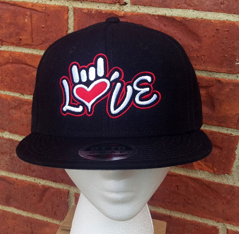 41eead6406257 ASL Love Design Snapback flat brim hat – Cherie4art Commercial ...