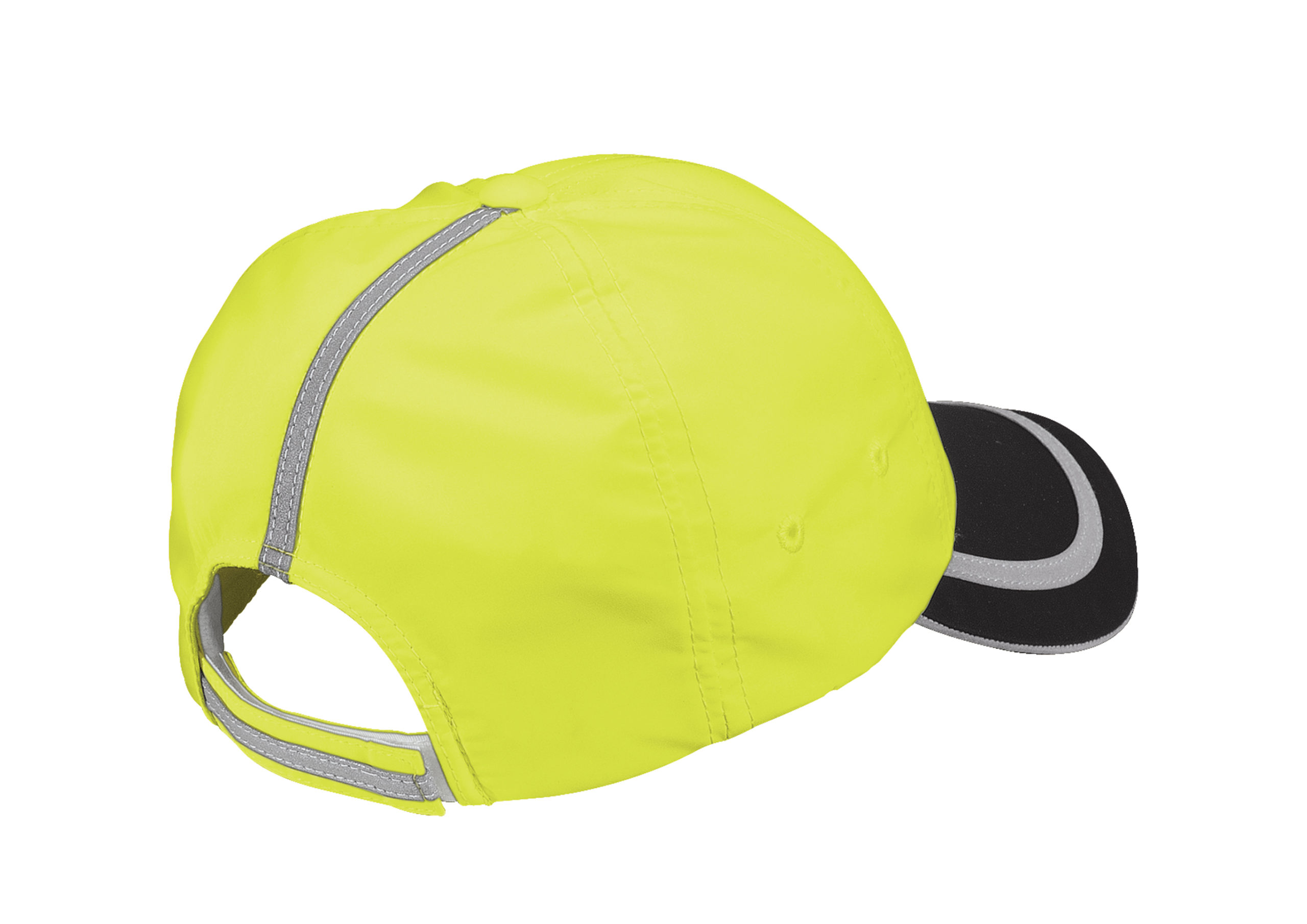 safety hat yellow and black back of hat